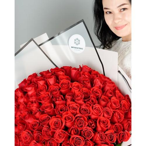 Купить на заказ Букет из 101 красной розы с доставкой в Сарыагаше