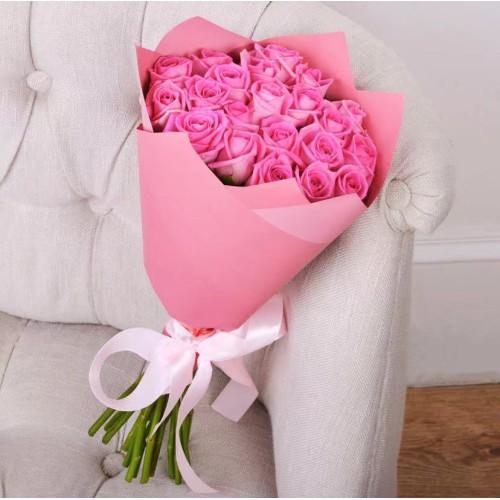 Купить на заказ Букет из 21 розовой розы с доставкой в Сарыагаше