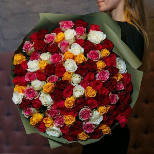 Купить на заказ Букет из 101 розы (микс) с доставкой в Сарыагаше